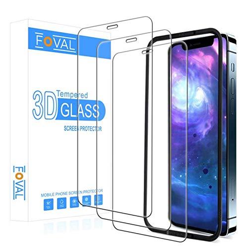 Foval Panzerglas kompatibel mit iPhone 12 Pro Max Displayschutzfolie 6,7 Zoll 2020 (3 Pack) (volle Abdeckung), (hüllenfreundlich) HD Glas Displayschutzfolie für iPhone 12 Pro Max mit Ausrichtungswerkzeug