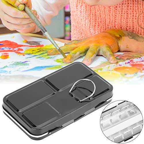 HEEPDD Aquarel Doos, 12 Kleuren Draagbare Effen Aquarel Box Pallet Lege Afneembare Aquarel Schilderij Palet Verf Case Tekening benodigdheden met Metalen Ring