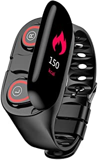 M1 2 en 1 pulsera inteligente inalámbrica Bluetooth auricular combo de música para correr auriculares de frecuencia cardíaca, presión arterial rastreador de fitness (negro)