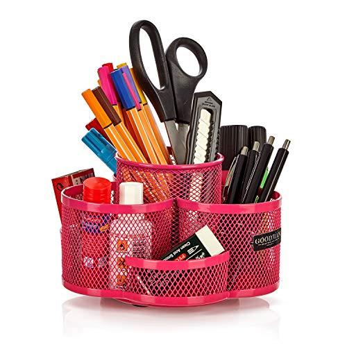 Schreibtisch Organizer Kinder drehbar in pink - hochwertiger und großer Stiftehalter rosa aus Metall - Stifteköcher für Mädchen als...