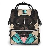 Mochila de Pañales para Cambiar Pañales Perro Bulldog Esmoquin Hipster, Gran Capacidad Bolsa de Momias a Prueba de Agua Elegante para Mamá Papá Viajar Con Un Bebé