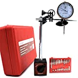 KHCRAFT Professional Dial Indicator Magnetic Base: Dial Indicator 0-1'x0.001' Steel Hardened, Magnetic Base 130lb Fine Adjusted, Indicator Points Set 22-Piece in Blow Mould Case