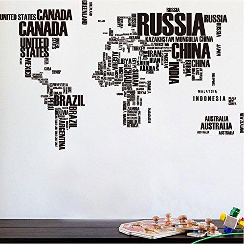 los Mapa del Mundo Vinilos Decorativos Arte Inglés Carta Citar Pegatinas de Pared Negro Mapa del Mundo Original Habitación Creativa Calcomanías de Pared (Black)