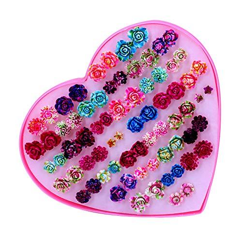 36 Paare Ohrringe für Frauen Mädchen Modische Bunte Ohrringe Antiallergische Kunststoff Nadel Harz Blume Mischte Ohrringe Kleine Ohrstecker Ohrringe