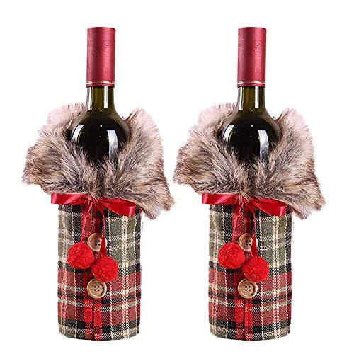 WEKNOWU Weihnachtliche Wein-Abdeckung für Weihnachten, Rotweinflaschen, Tischdekoration und Dekorationen, 2 Stück