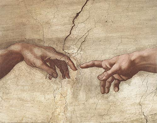 The Creation of Adam (Detail) by Michelangelo Buonarroti Art Print, 28 x 22 inches
