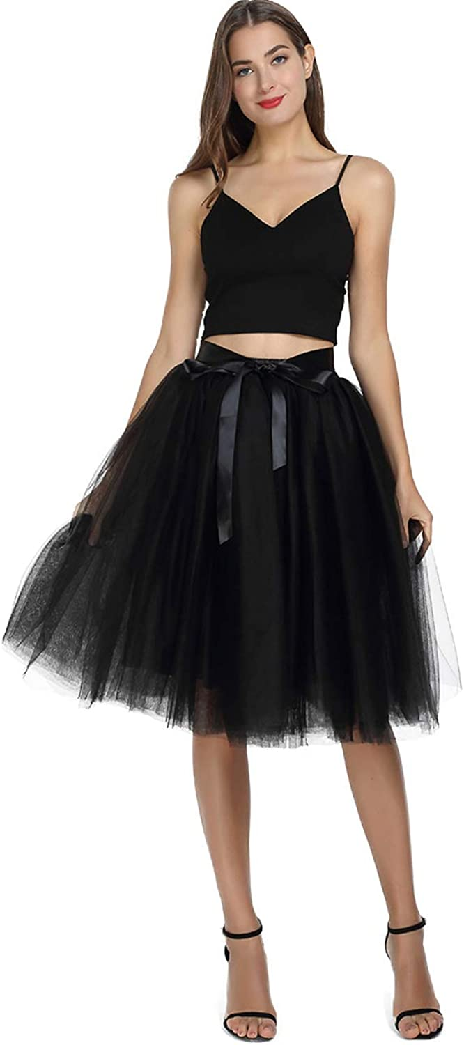 Party Train Women's Tutu Tulle Princess Fairy Skirt Aline Pleated Midi Knee Length 7 Layers