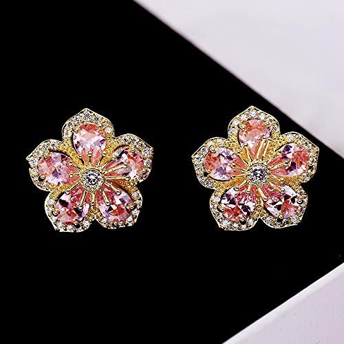 FEARRIN Pendientes de botón Flor Pendientes de botón de turmalina Multicolor Natural Pendientes de Piedras Preciosas Naturales Plata Mujer Chica Fiesta Regalo Joyería Rosa