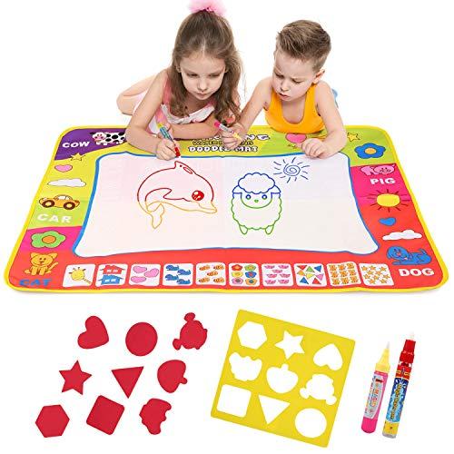 NEWSTYLE Doodle Tappeto, Tappeto Magico Bambini, Acqua Tappeto da Disegno per Bambini con Penne Magiche, Formine e Borsa per Il Trasporto - Giocattolo Educativo per Ragazzi e Ragazze (80*59)