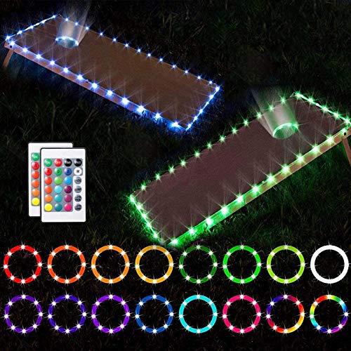 GYAM Luces LED Cornhole, Kits de Luces LED ultrabrillantes, 16 Colores con Control Remoto Board Edge y Luces LED de Anillo para el Juego Cornhole en el Patio Trasero, 2 Juegos,3M 30LED