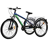 VANELL Adult Mountain Tricycle 20/24/26 in 7/1 Speed Three Wheel Cruiser Trike Bike with Front Suspension Fork Front Disc Brake MTB Tire Bicycle (Black - Blue+Green, 7speed&24')