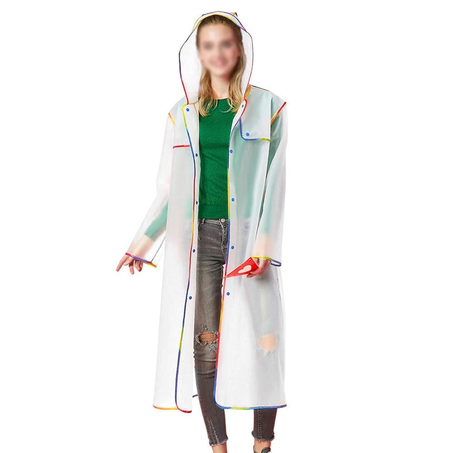 広範囲に起こりやすい予定レインコート 男性女性ポンチョ長い透明ケープ屋外フード付き防水大人旅行ファッション緊急レインコート自転車EVA再利用可能