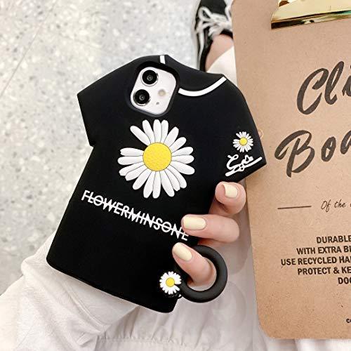 """SevenPanda Hülle für iPhone 11 Pro 5.8"""", Floral 3D Niedliche Weiche Silikonkautschuk Schutzgel Rückseite mit Ring Lanyard, Animiert für Kinder Mädchen (Gänseblümchen Kleidung Schwarz, iPhone 11 Pro)"""