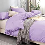 Bowavat Pom Pom Fringe Duvet Cover Full/Queen Size,100% Washed Microfiber 3 Pieces Purple Duvet Cover Set, Soft and Breathable with Zipper Closure and Corner Ties (Full / Queen, Purple)
