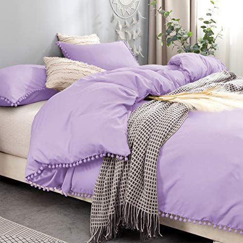 Bowavat Pom Pom Fringe Duvet Cover Full/Queen Size,100% Washed Microfiber 3 PiecesPurple Duvet Cover Set, Soft and Breathable with Zipper Closure and Corner Ties (Full / Queen, Purple)