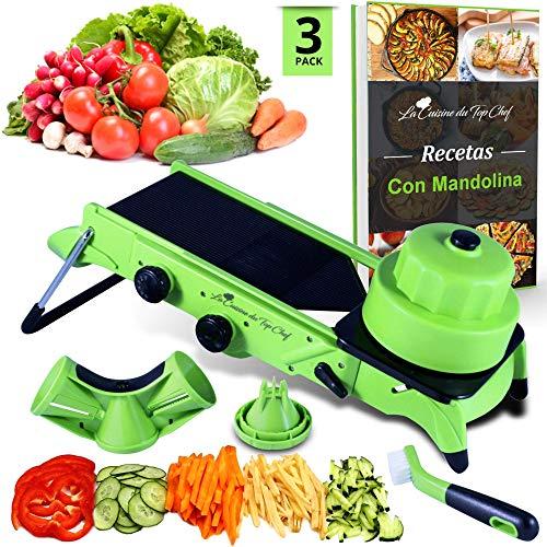 Mandolina de cocina Profesional - Cortador de Verduras en Espiral- eBook de Recetas - Protector anticortes - Cuchillas no Intercambiables - Cepillo de Regalo - Spaghetti Vegetal