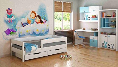 Children's Beds Home Camas Individuales para niños Niños Niño pequeño Junior Sin cajones Sin colchón Incluido (180x90, Blanco)
