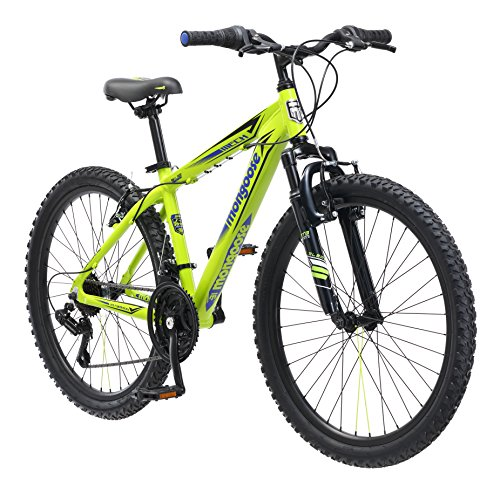 Why Choose Mongoose Boys Mech Mountain Bicycle, 13/One Size, Bright Green, 24-Inch Wheels