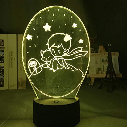 Lámpara De Ilusión 3D Luz De Noche Led El Principito Lámpara De Bebé Para La Decoración De La Habitación De Los Niños Luz 7 Colores Que Cambian La Batería Usb Para Niños