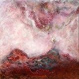 Luca Bonfanti Impresión artística sobre lienzo HD pintura cuadro arte moderno abstracto, 70 x 70 cm, trascendencia génesis roja