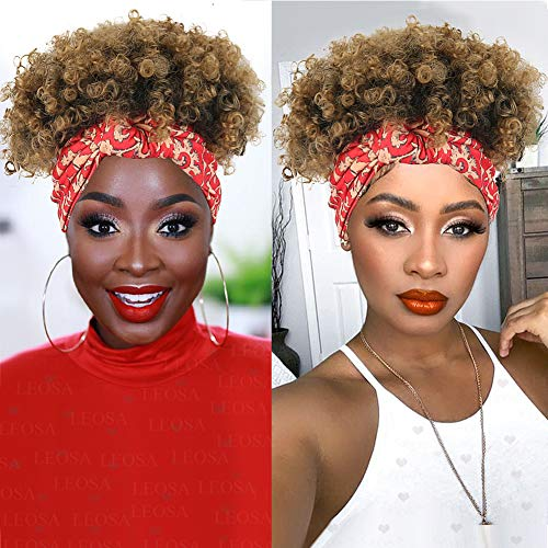 LEOSA Headband Wig for Black Women,Short Kinky Curly Wig Wrap Wig 2 in 1 Synthetic Afro Curly Wig with Headbands Attached Natural Wigs Curly Hair Extensions Afro High Puff Turban Wig for Black Women