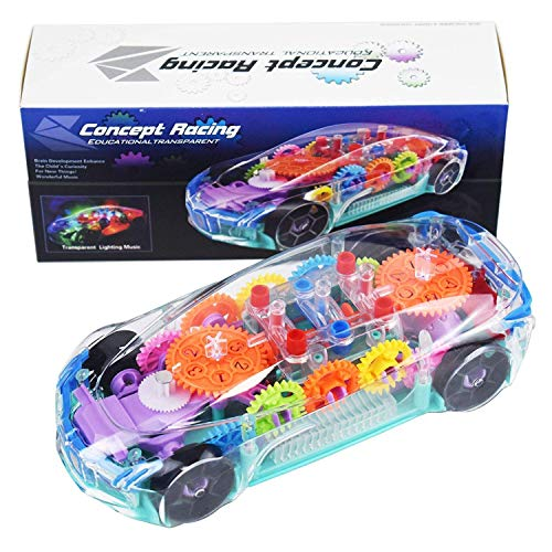 Galaxy Hi-Tech® Transparent car 3D Concept Super Car Toy for Kids with 360 Degree Rotation, Gear Simulation Mechanical Car Technology w/d Sound & Light Toys for Kids Boys & Girls Toys & Games