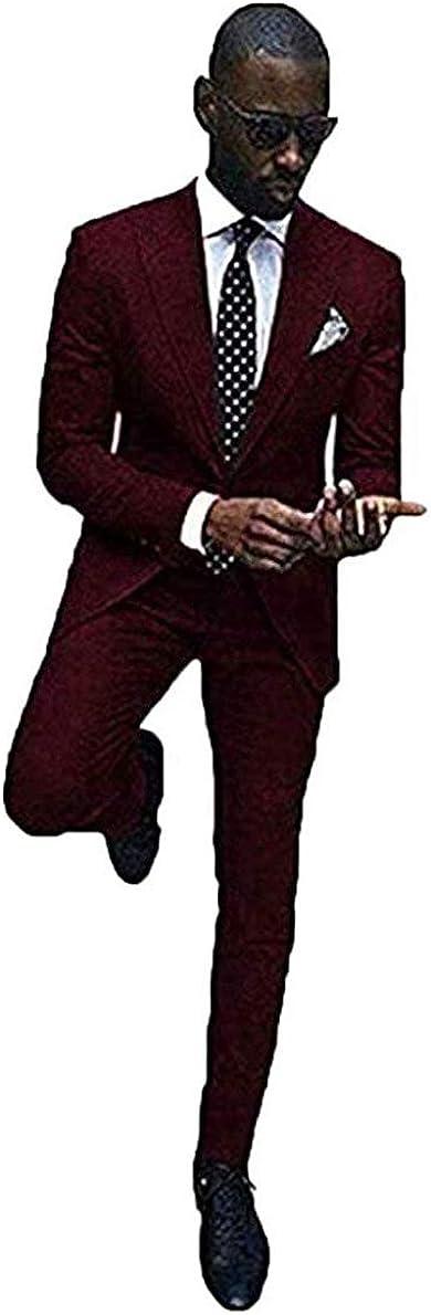 Wemaliyzd Men's 2 Pieces Business Suit Slim Fit 2 Buttons Blazer Jacket Pants