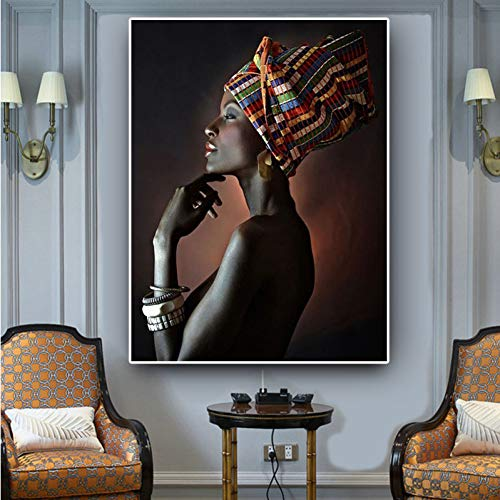 GUDOJK decoratief schilderij vrouw hoofdband portretlinnen schilderij poster en afdrukken muurkunst afbeelding voor de woonkamer 50x70cm(20x28inch)