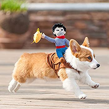 WORDERFUL Pet Costume Cowboy Rider Style Dog Costume Pet Suit Dog Carrying Costume  S