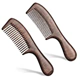 2 Packs Wooden Hair Comb Set Wide and Fine Teeth Anti-Static for Wet or Dry,Straight and Curly Hair,Women and Men