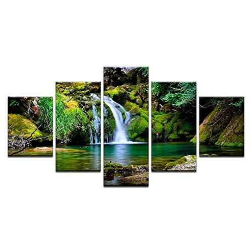 DAIZHJ 5Panel HD Gedrukt Bos Waterval Mountain stream Posters Landschap Print Op Doek Kunst Schilderen Voor huiselijke decoratie