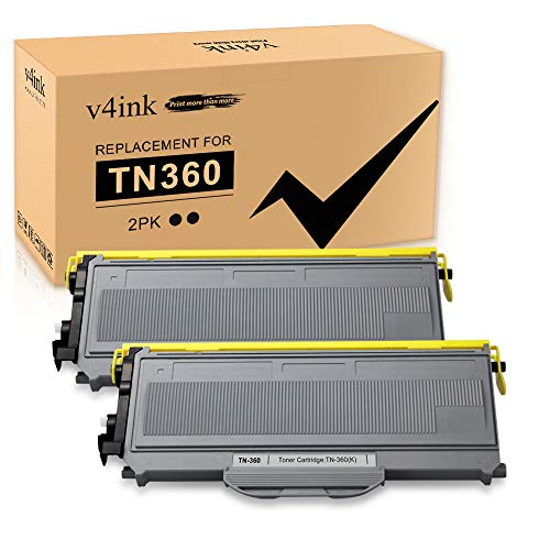 V4INK 2PK Compatible Toner Cartridge Replacement for Brother TN-360 TN-330 TN360 TN330 Toner High Yield Black for Brother DCP-7040 DCP-7030 MFC-7840W Brother HL-2140 HL-2170W MFC-7340 Printer