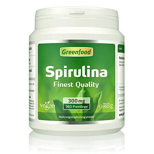 Spirulina, Finest Quality, 300 mg, 360 Presslinge – ideale Quelle für natürliche Vitamine, Mineralien, Spurenelemente und Chlorophyll. OHNE künstliche Zusätze. Ohne Gentechnik. Vegan.