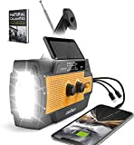 [2021 Upgraded] Emergency Weather Radio, Portable Flashlight Solar Radio AM/FM/NOAA by ZoyTech | Hand Crank Waterproof Rechargeable Radio with Powerbank, Phone Charger, 3 in 1 Cable | Survival Kit