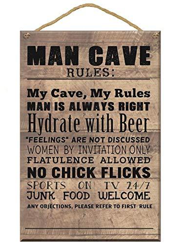 Anker International Man Cave Wooden Plaque, Wood, Brown, 10 x 10 x 1 cm