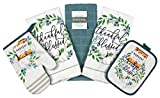 Fall Harvest Blue and White Pumpkins Kitchen Dish Towels and Pot Holder Set 5pc … (White...