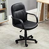 BELLEZE Mid-Back Office Chair Faux Leather Ergonomic Desk Swivel Task, Black