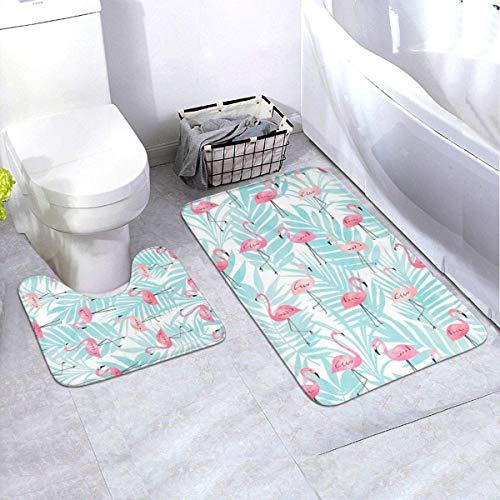 Onled 2-teiliges Badezimmerteppich-Set, Flamingo- und Pflanzenmuster, rutschfeste Badematten und Kontur-Badematte