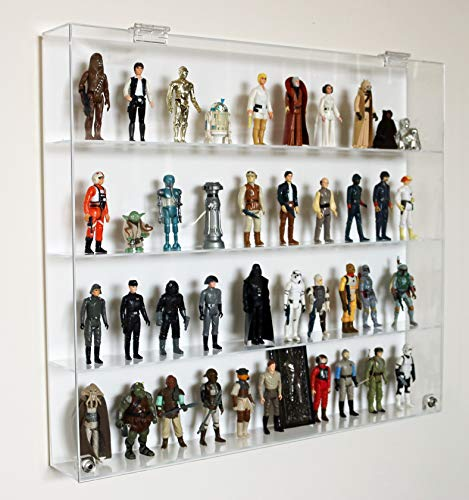 """Qualityjoes Collectors Showcase - Premium Display Case for 3-3/4"""" Star Wars Action Figures - 4 Shelf"""