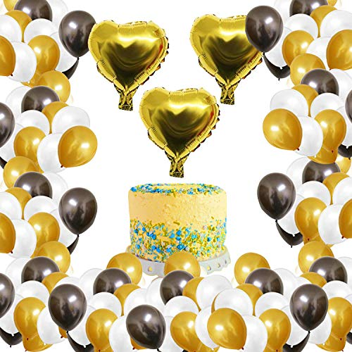 BELLE VOUS Party Ballons (105 STK) - 30,5cm Rosa, Gold, Weiß Latex Ballons mit 25,4cm Gold Herzballons (3 STK) für Party Dekoration Ballon Girlande zum Selber Machen Happy Birthday