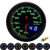 PYROJEWEL. 2' 52mm 7 Colori LED Dual Display Boost/Temp Acqua/Olio/Pressione Olio/Volt/Aria di Carburante Rapporto/Gauge EGT/tachimetro Auto + Pods Gauge (Color : Oil Temp)