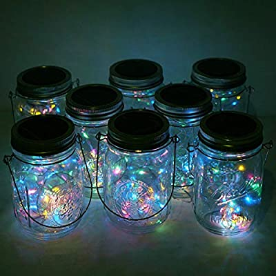 Cynzia Solar Mason Jar Lid Lights, 8 Pack 20 LED Waterproof Fairy Star Firefly String Lamp with 8 Hangers (Jar Not Included), for Lantern Table Garden Wedding Party Decor
