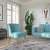 Novogratz Brittany Upholstered Accent, Light Blue Linen Chair