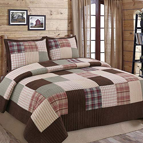 Cozy Line Home Fashions Brody Quilt Bedding Set, Chocolate Brown Plaid Grid Striped Real Patchwork,Reversible Coverlet, Bedspread Set (Brown Grid, Queen - 3 Piece)