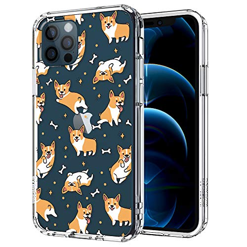 MOSNOVO Cute Corgi Pattern Designed for iPhone 12 Case 6.1 Inch/Designed for iPhone 12 Pro Case 6.1 Inch,Clear Case with Design,TPU Bumper with Protective Hard Case Cover