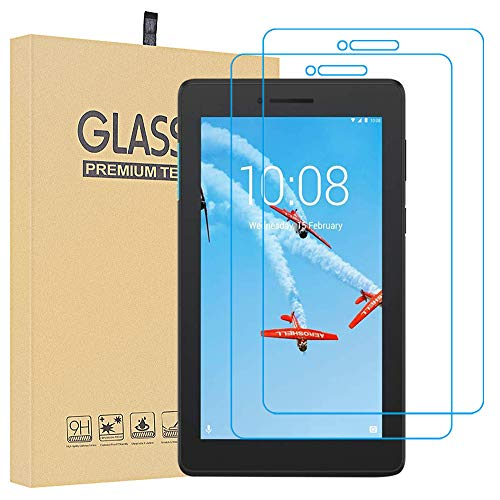Lusee 2 Pack Screen Protector for Lenovo Tab E7 TB-7104F 7.0 Tablet Tempered Glass [9H Hardness] [HD Clear] [Case friendly] Anti Scratch/Anti Fingerprint 2.5D Screen Protector
