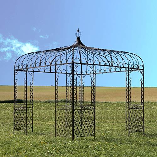 L'ORIGINALE DECO Grande Tonnelle Pergola Fer de Jardin Marron 300 cm x 280 cm x 280 cm