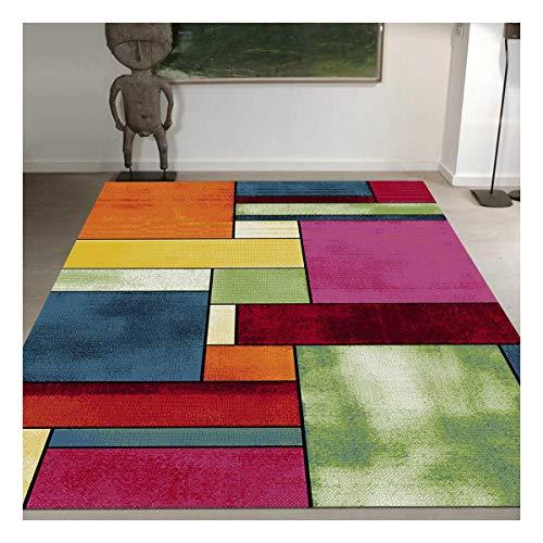 UN AMOUR DE TAPIS 40x60 Petit Tapis d Entree Interieur - Tapis Salon Moderne Design Géométrique Poils Ras - Tapis Entree Multicolore