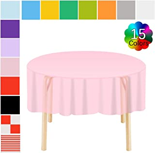 Etmury Plastic Tablecloth 6 Pack Disposable Round Table Covers 83 in. x 83 in. Indoor or Outdoor Parties Birthdays Weddings Christmas(Pink)