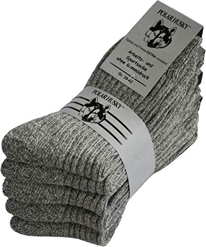 Polar Husky® 5 Paar Warme Norweger-Arbeitssocken, anthrazit, mit Frotteesohle, 80prozent Schafwolle, ohne Gummidruck Farbe Grau Größe 43/46